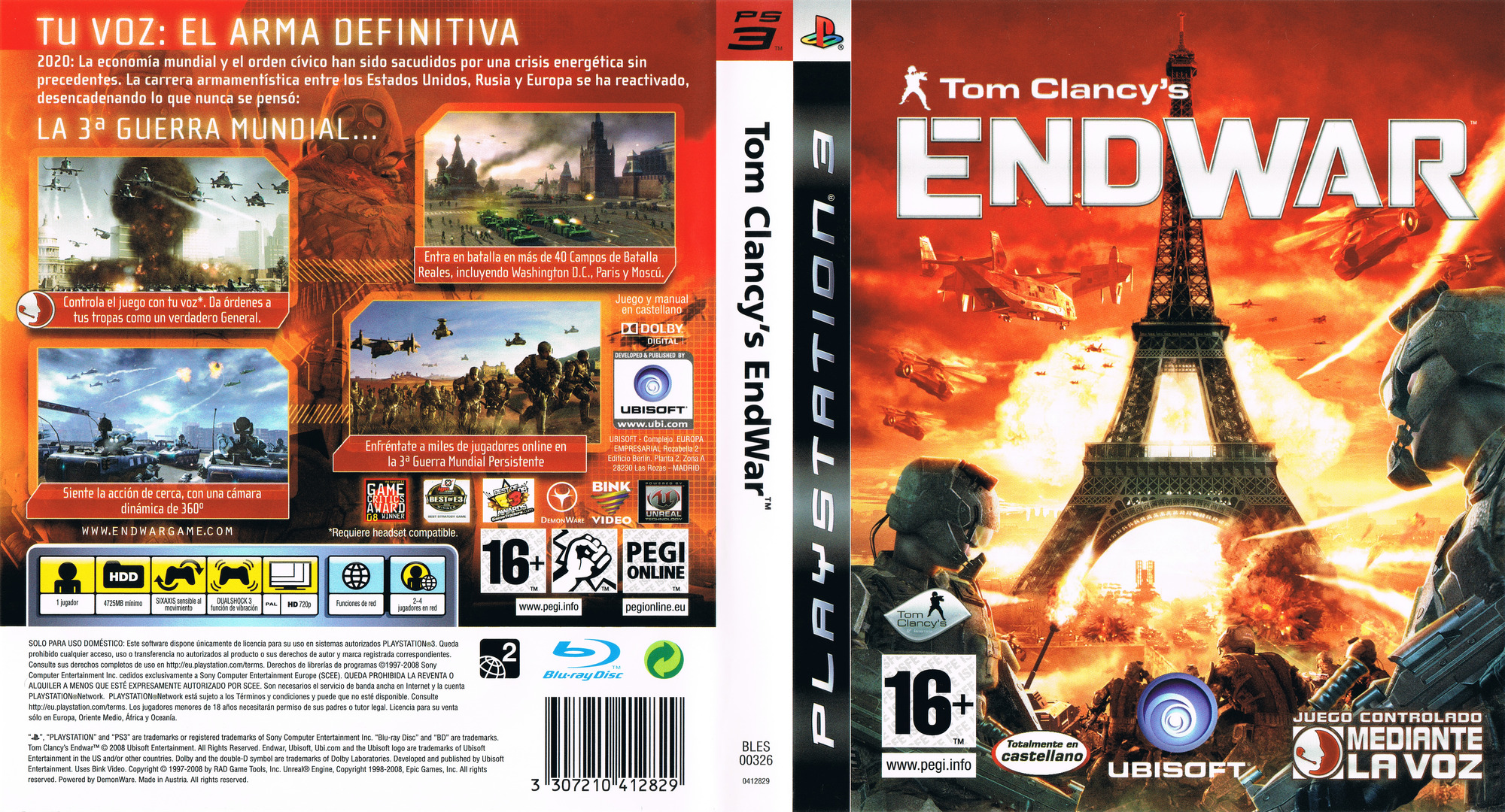 Tom Clancy's EndWar PS3 coverfullHQ (BLES00326)
