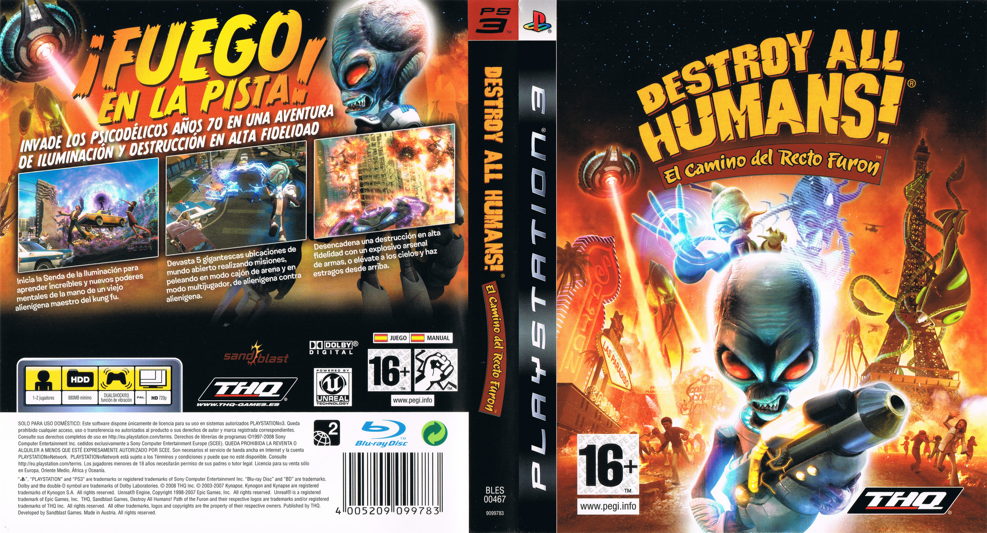 Destroy All Humans! El Camino del Recto Furon PS3 coverfullHQ (BLES00467)