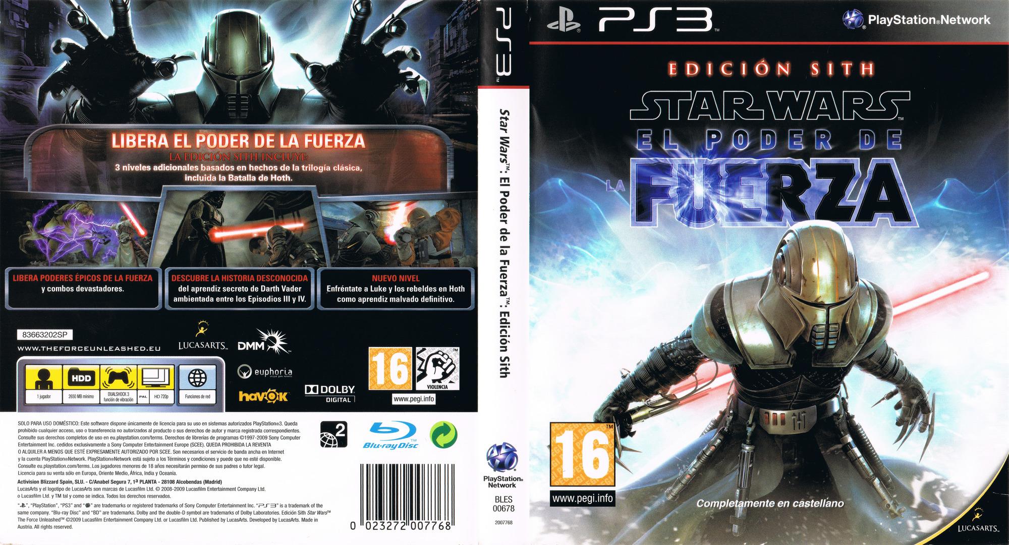 Star Wars: El Poder de la Fuerza: Edición Sith PS3 coverfullHQ (BLES00678)
