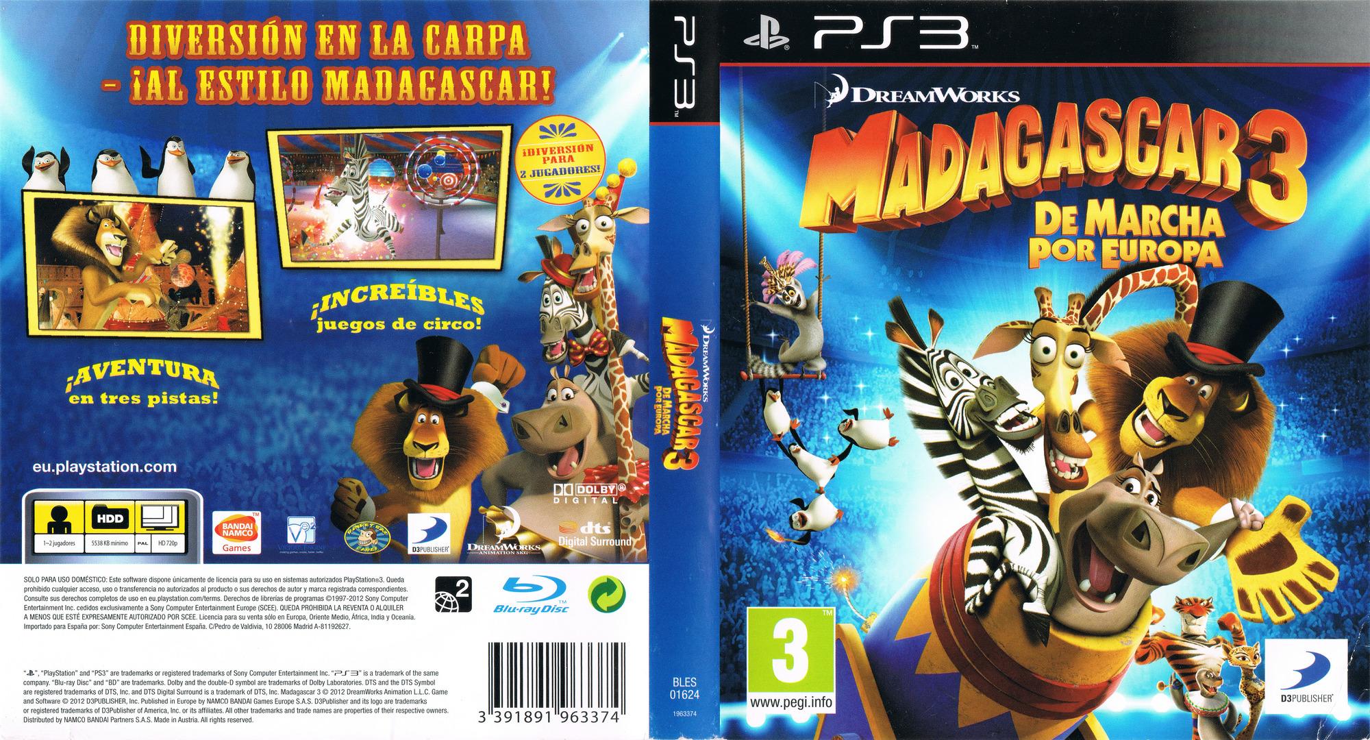 Madagascar 3: De Marcha por Europa PS3 coverfullHQ (BLES01624)