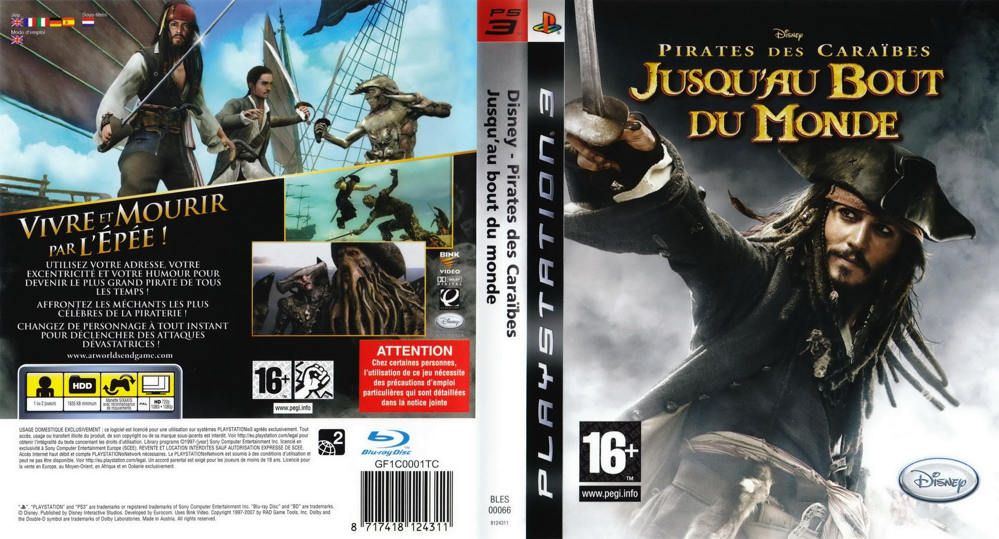 Pirates des Caraïbes:Jusqu'au Bout du Monde PS3 coverfullHQ (BLES00066)