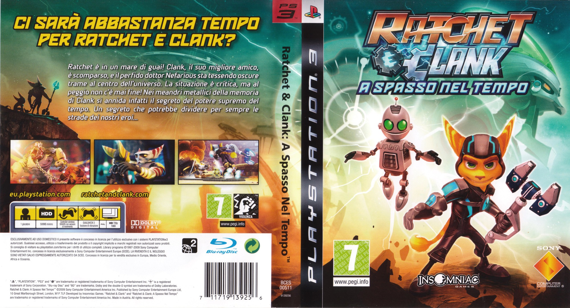 Ratchet & Clank: A spasso nel tempo PS3 coverfullHQ (BCES00511)