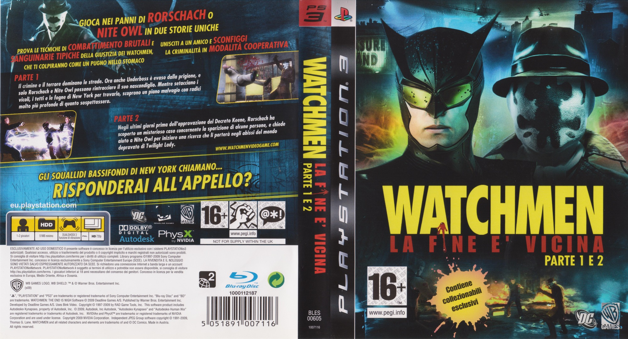 Watchmen: La Fine E' Vicina - Parte 1&2 PS3 coverfullHQ (BLES00605)