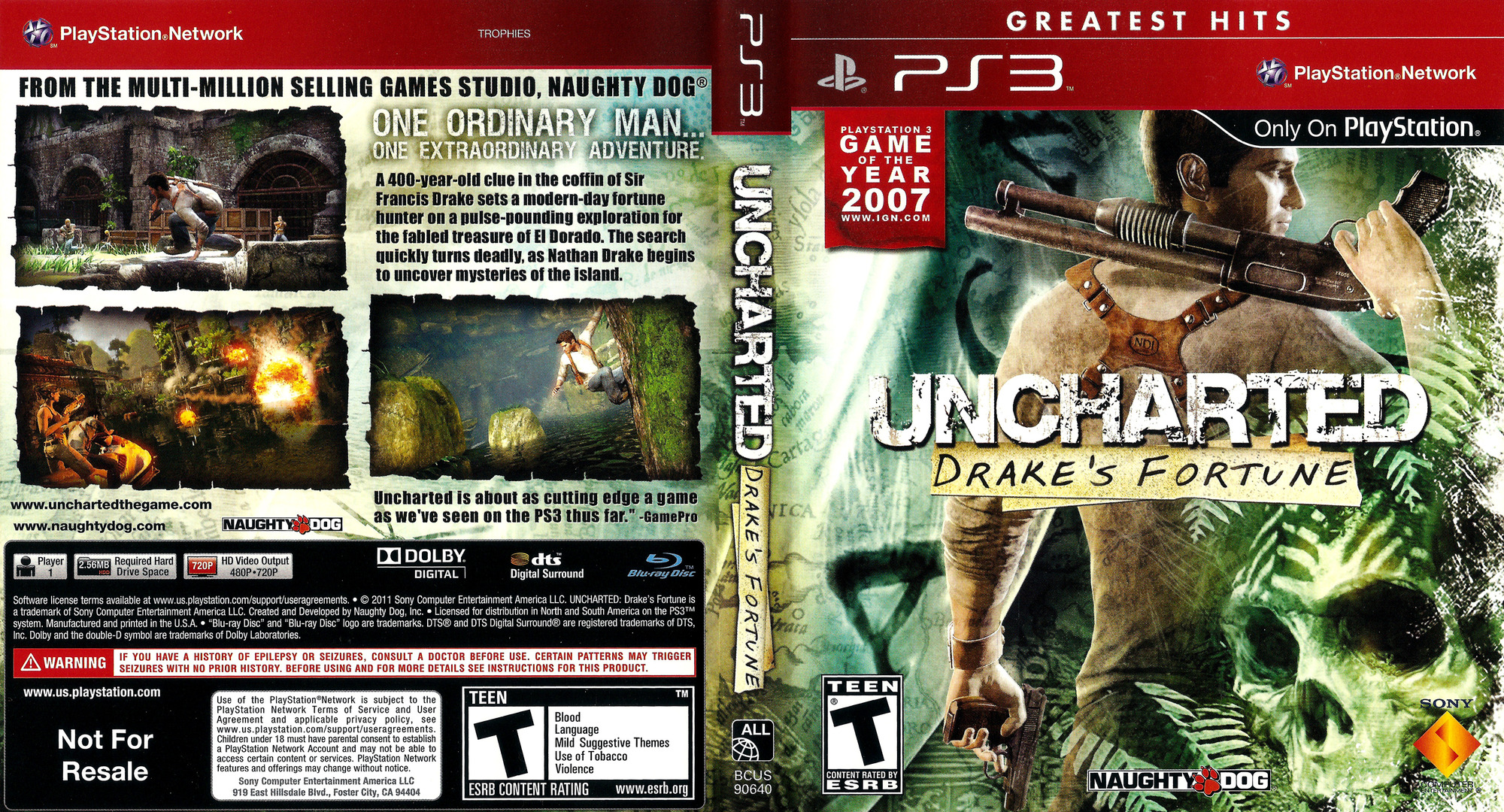Uncharted: Drake's Fortune (Greatest Hits) PS3 coverfullHQ (BCUS90640)