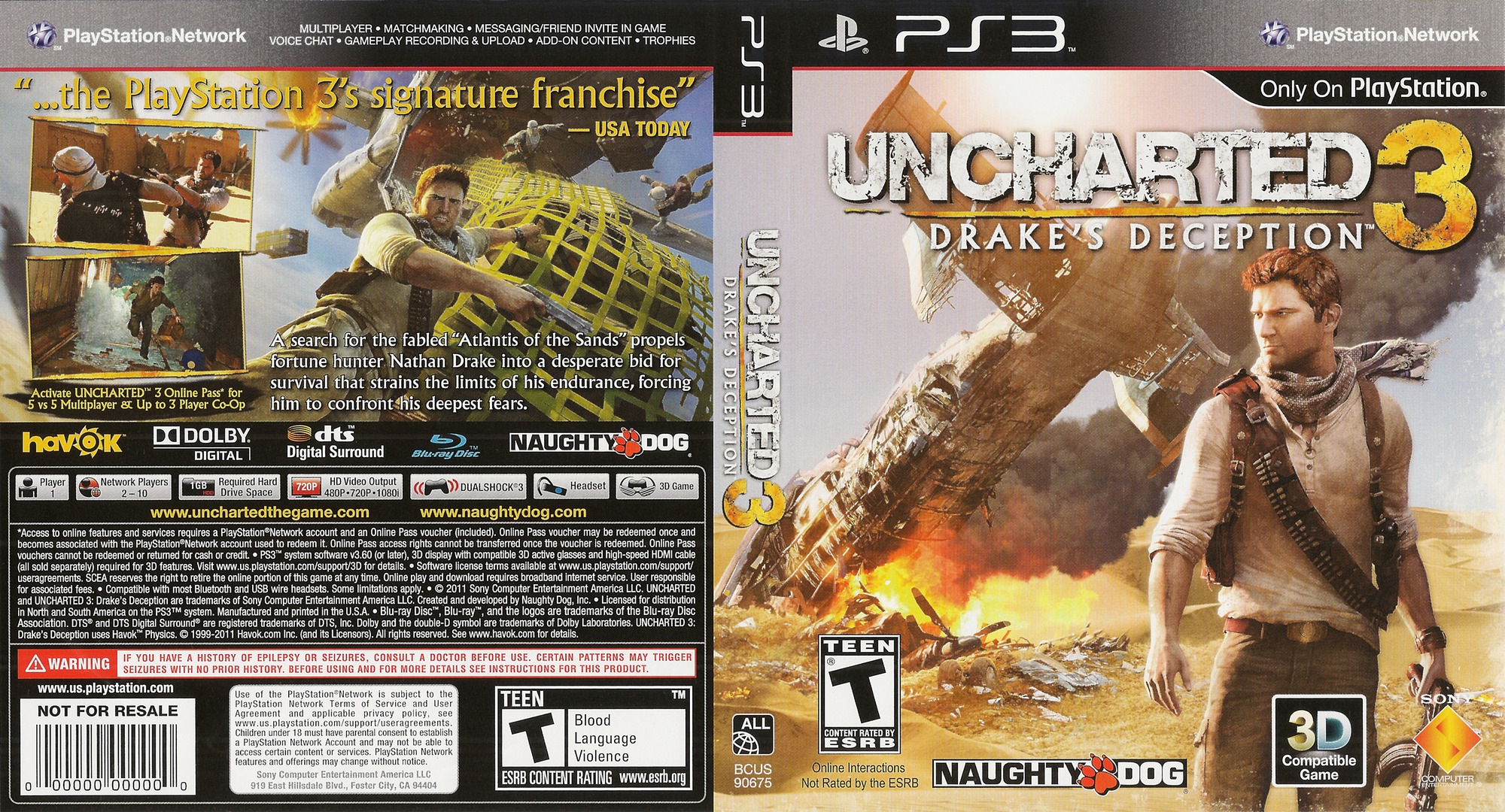 Uncharted 3: Drake's Deception PS3 coverfullHQ (BCUS90675)