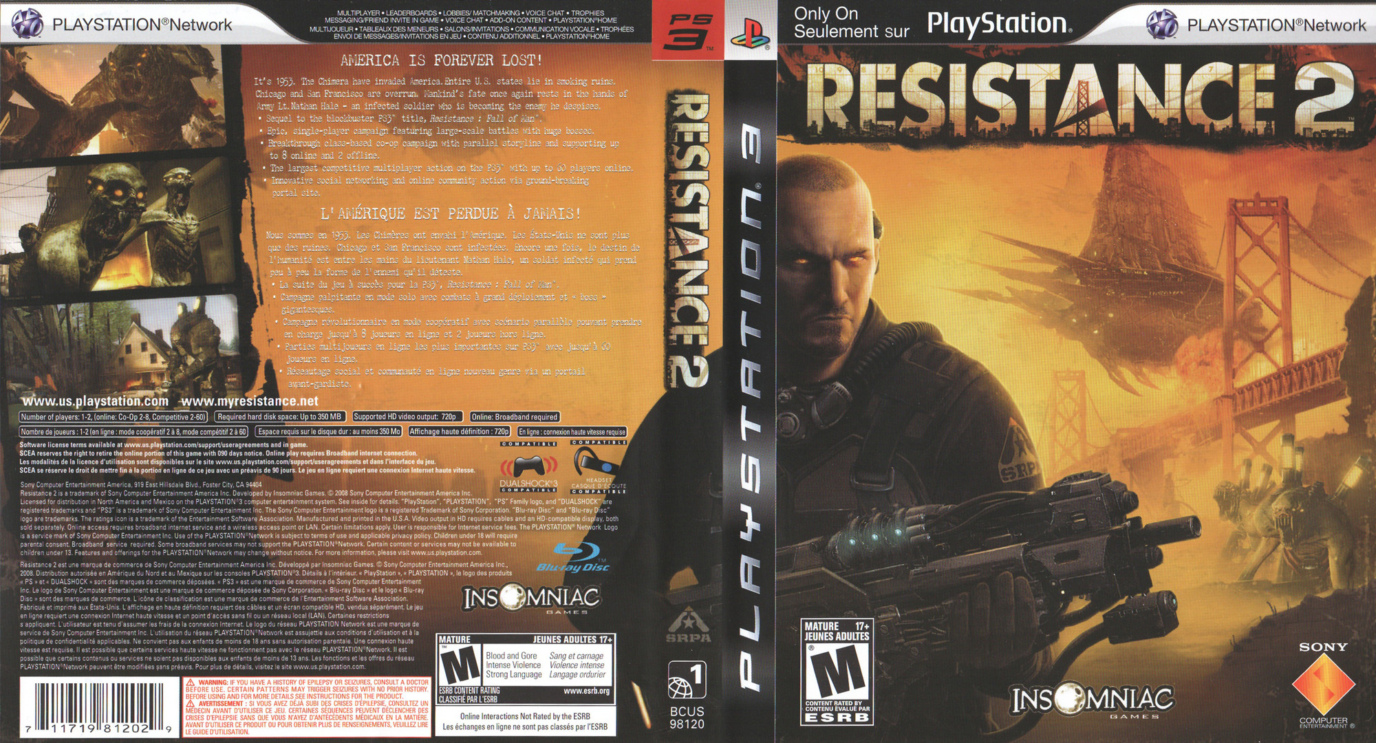 Resistance 2 PS3 coverfullHQ (BCUS98120)