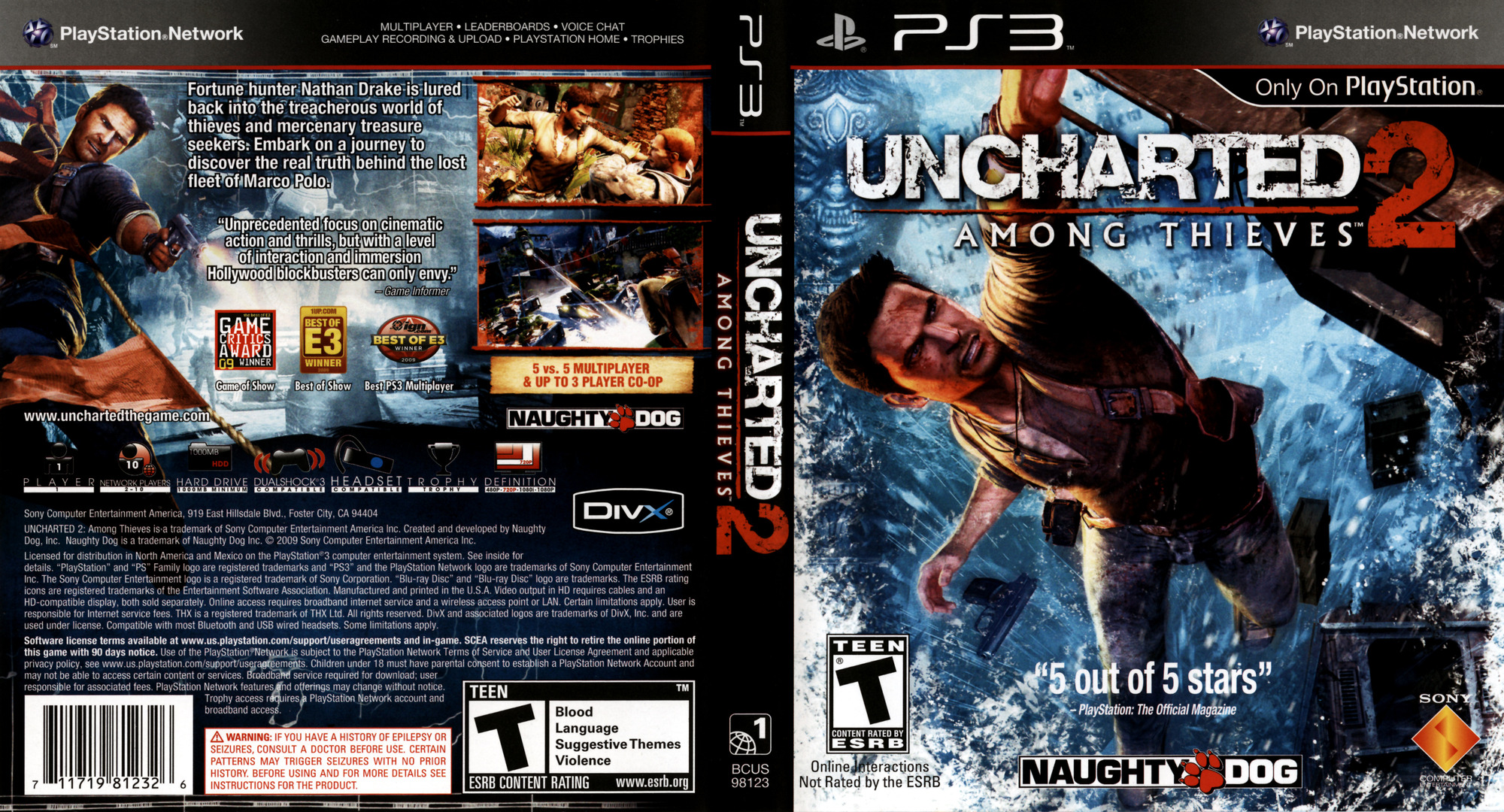 Uncharted 2: Among Thieves Array coverfullHQ (BCUS98123)