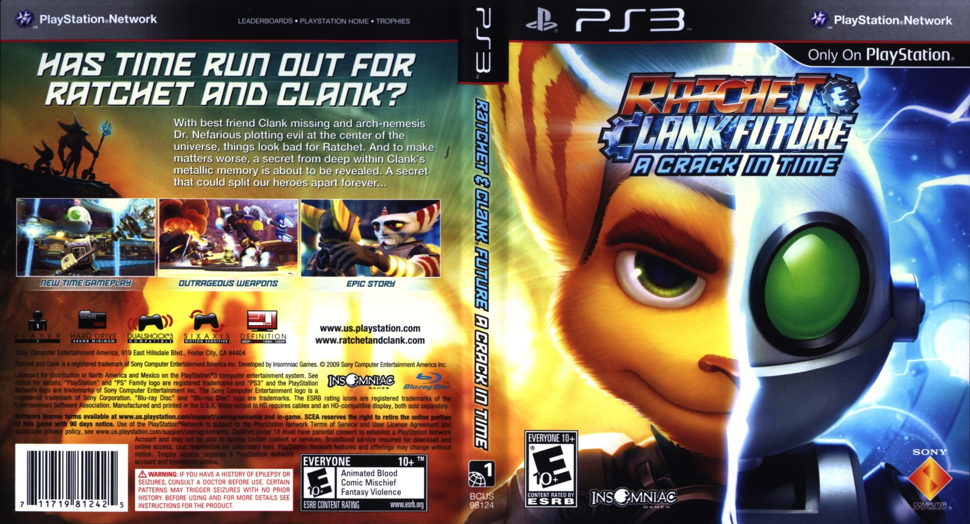 Ratchet & Clank: Future - A Crack in Time PS3 coverfullHQ (BCUS98124)