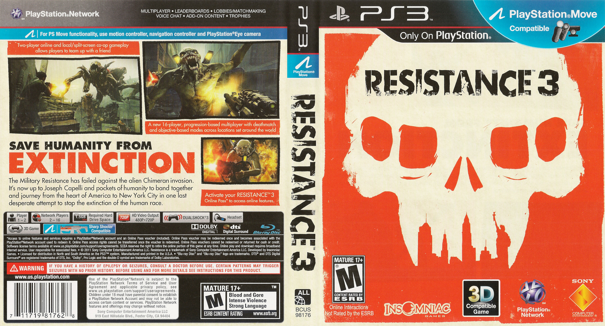 Resistance 3 (Doomsday Edition) PS3 coverfullHQ (BCUS98176)