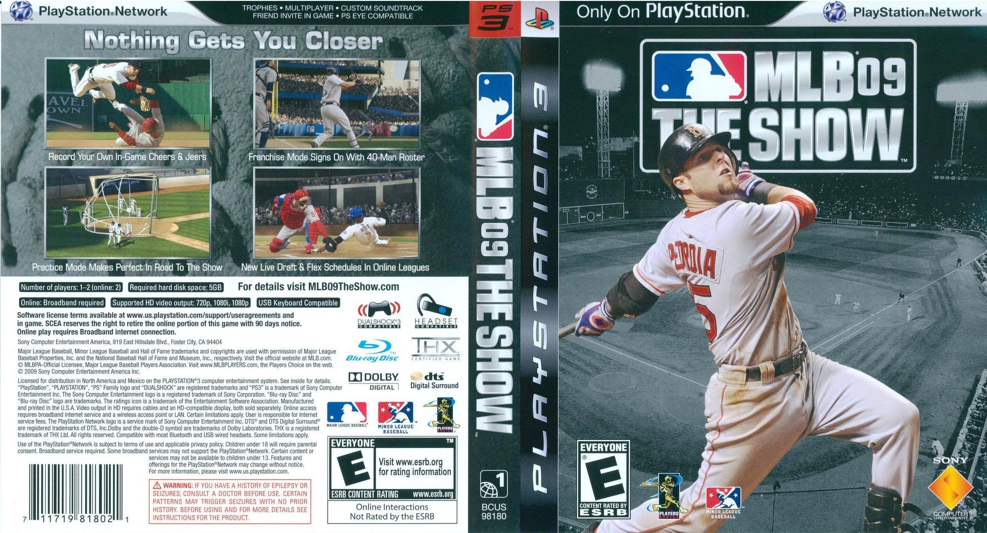 MLB 09: The Show PS3 coverfullHQ (BCUS98180)