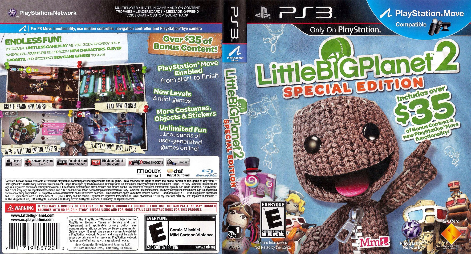 LittleBigPlanet 2 (Special Edition) PS3 coverfullHQ (BCUS98372)