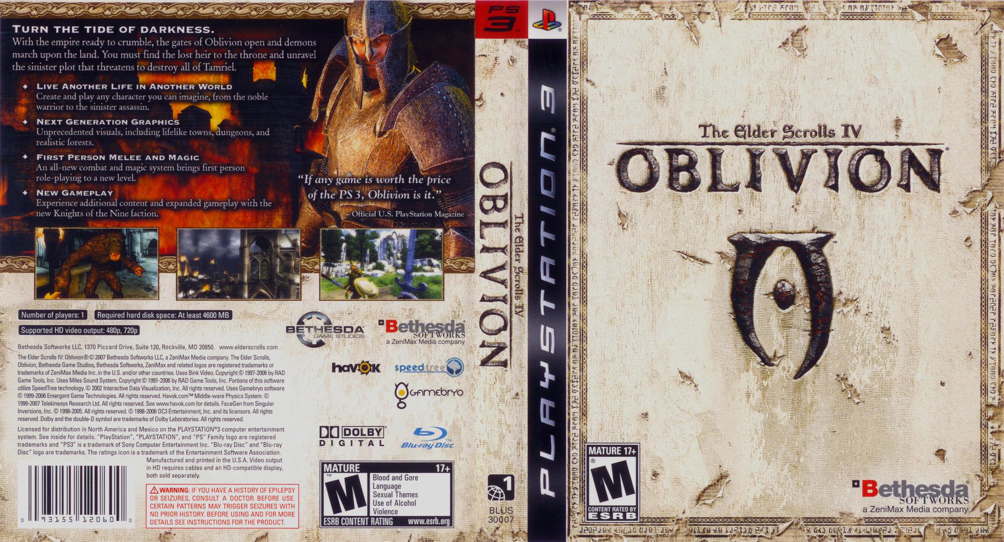 The Elder Scrolls IV: Oblivion PS3 coverfullHQ (BLUS30007)