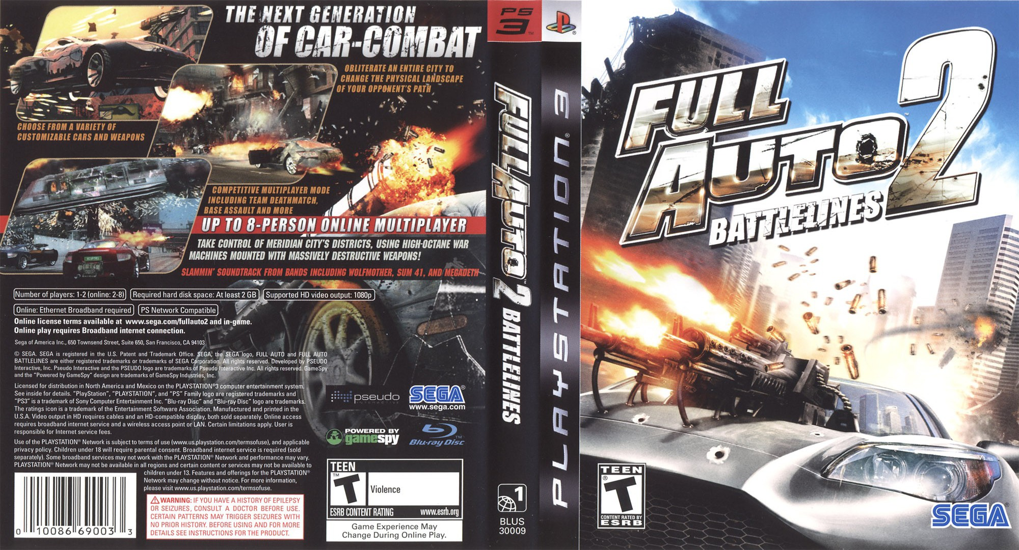 Full Auto 2: Battlelines PS3 coverfullHQ (BLUS30009)