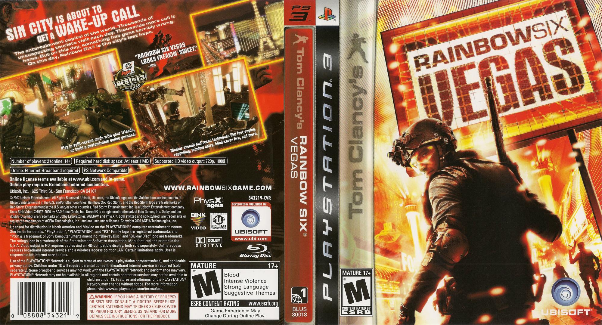 Tom Clancy's Rainbow Six: Vegas PS3 coverfullHQ (BLUS30018)