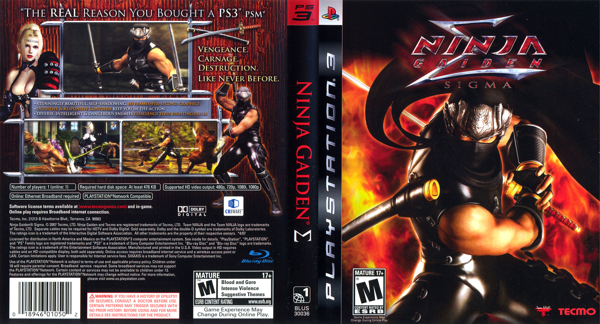 Ninja Gaiden Sigma PS3 coverfullHQ (BLUS30036)