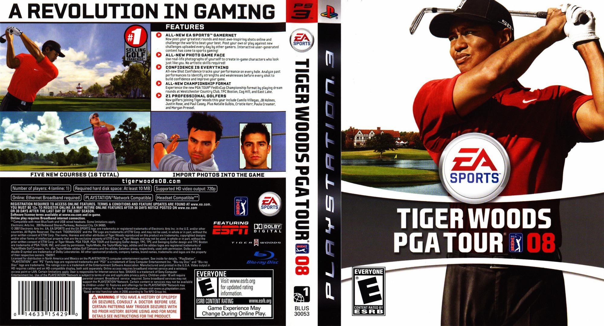 Tiger Woods PGA Tour 08 PS3 coverfullHQ (BLUS30053)