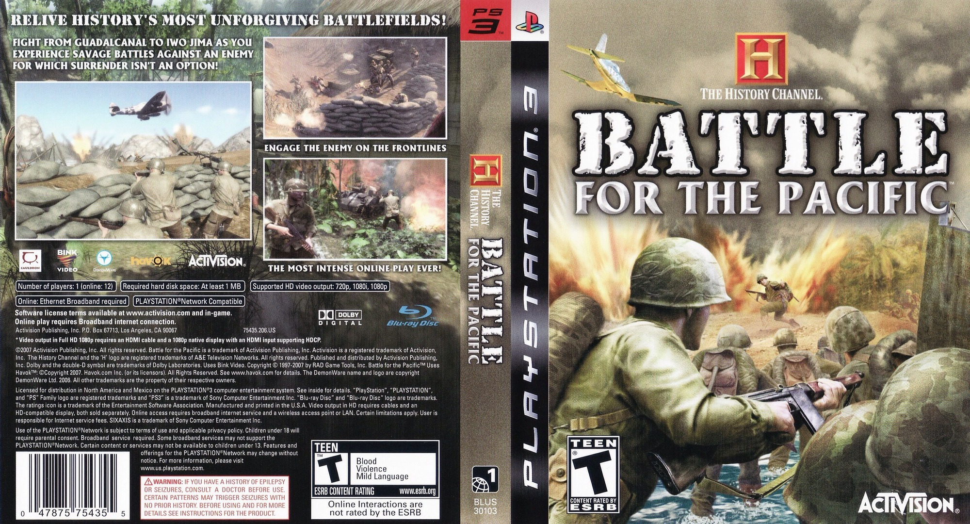 History Channel: Battle for the Pacific PS3 coverfullHQ (BLUS30103)
