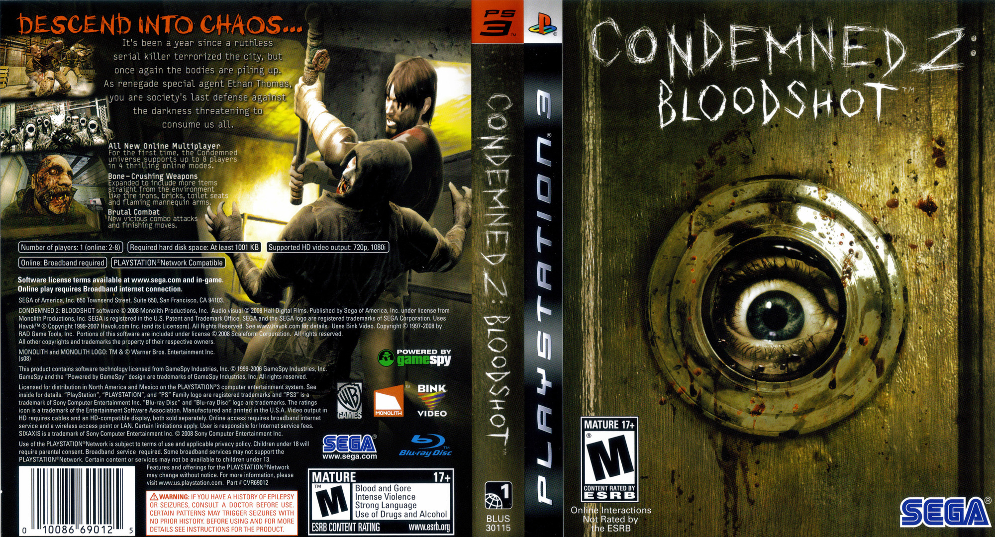 Condemned 2: Bloodshot PS3 coverfullHQ (BLUS30115)