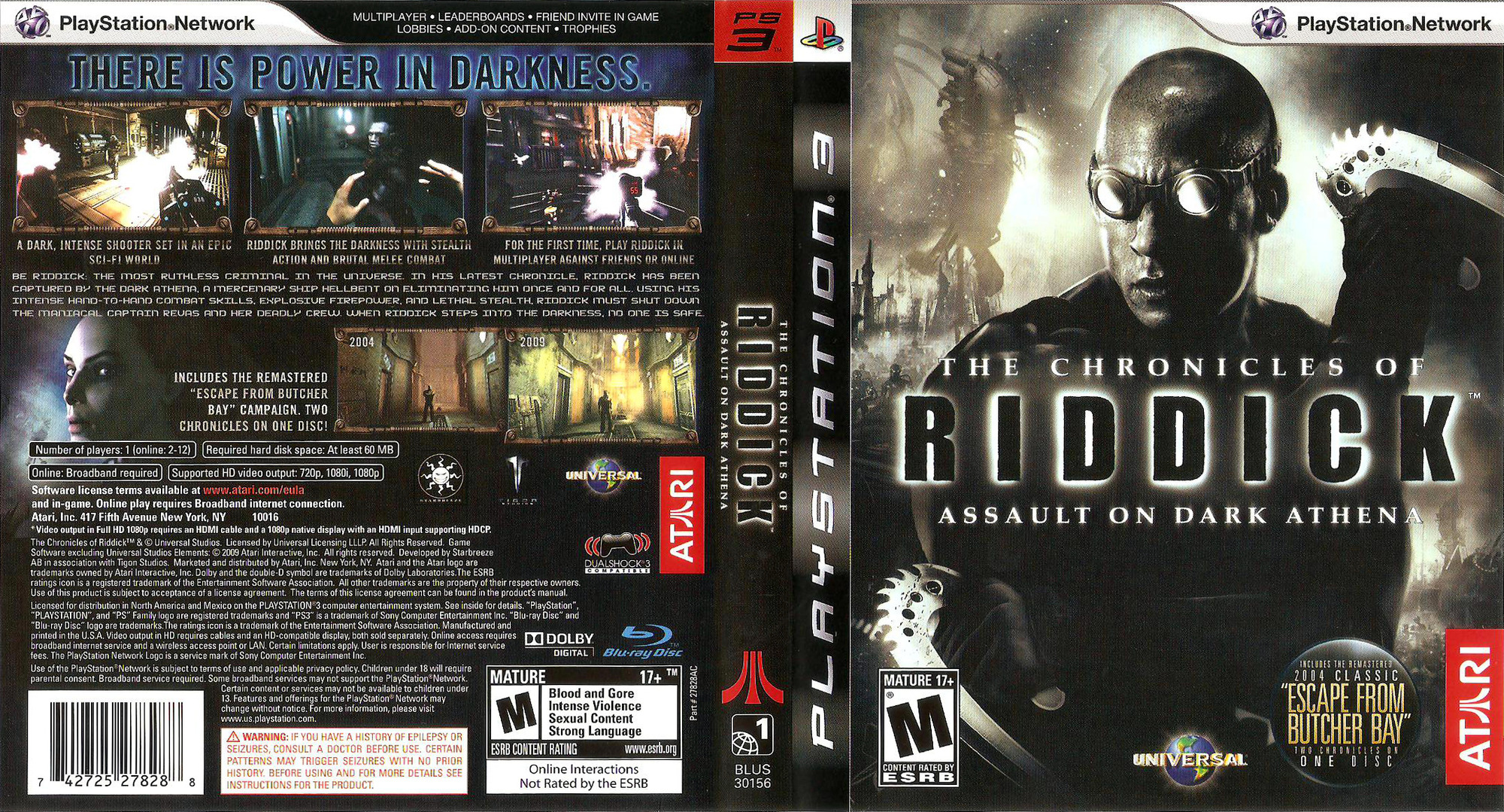 The Chronicles of Riddick: Assault on Dark Athena PS3 coverfullHQ (BLUS30156)