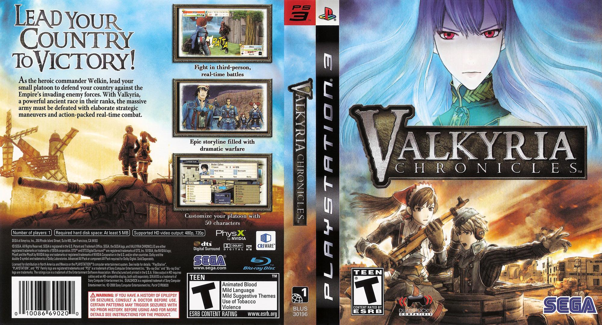 Valkyria Chronicles PS3 coverfullHQ (BLUS30196)