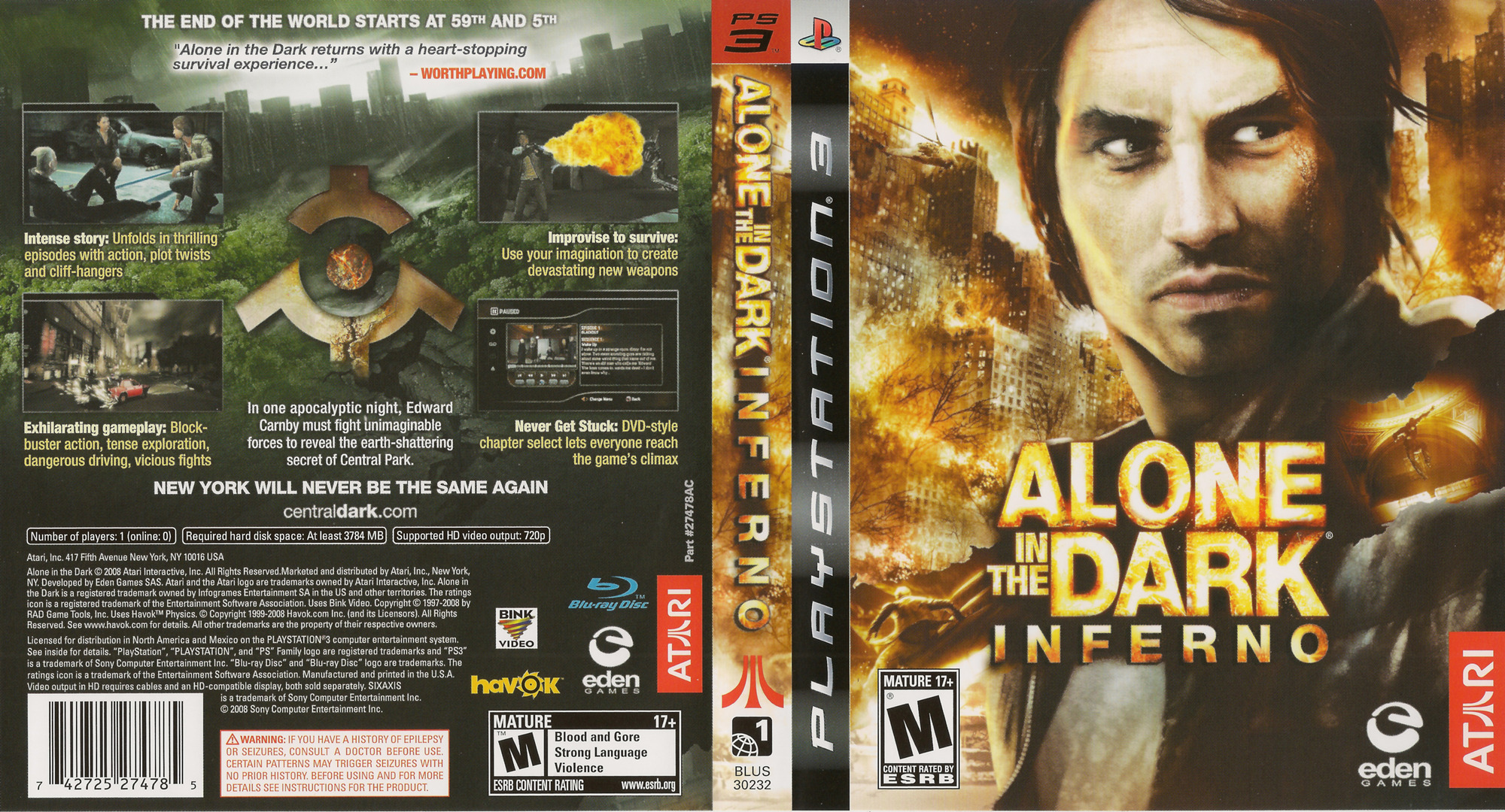 Alone in the Dark: Inferno PS3 coverfullHQ (BLUS30232)