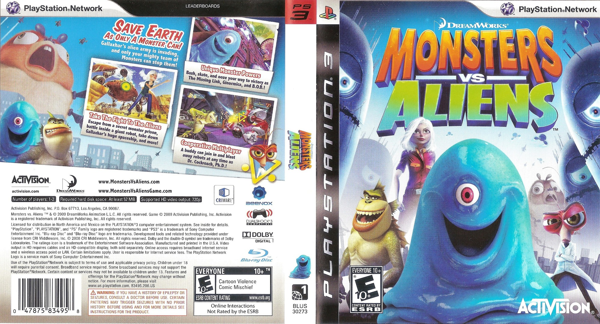 Dreamworks' Monsters vs. Aliens PS3 coverfullHQ (BLUS30273)