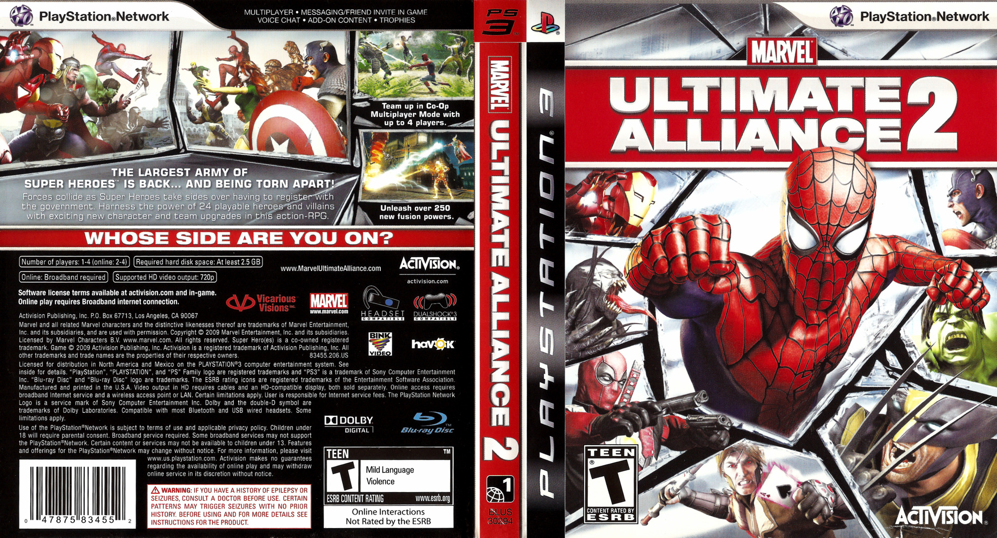 Marvel: Ultimate Alliance 2 PS3 coverfullHQ (BLUS30294)