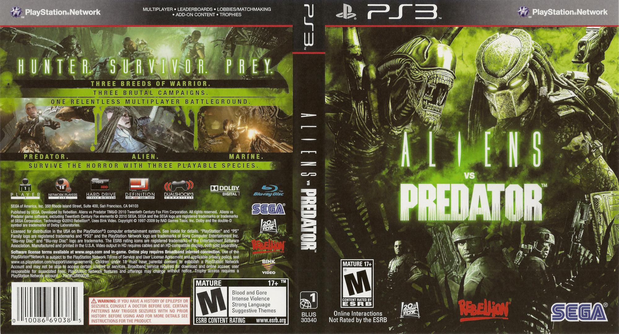 Aliens vs. Predator PS3 coverfullHQ (BLUS30340)
