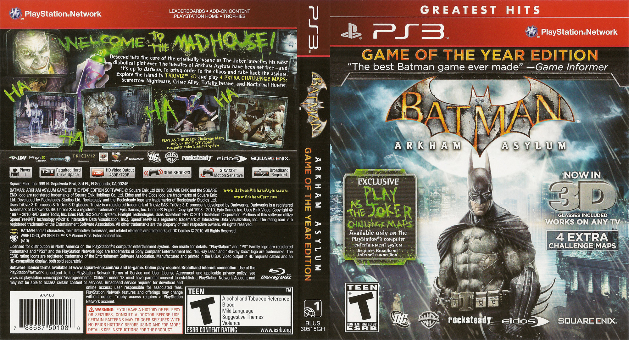 Batman: Arkham Asylum (Game of the Year Edition) PS3 coverfullHQ (BLUS30515)