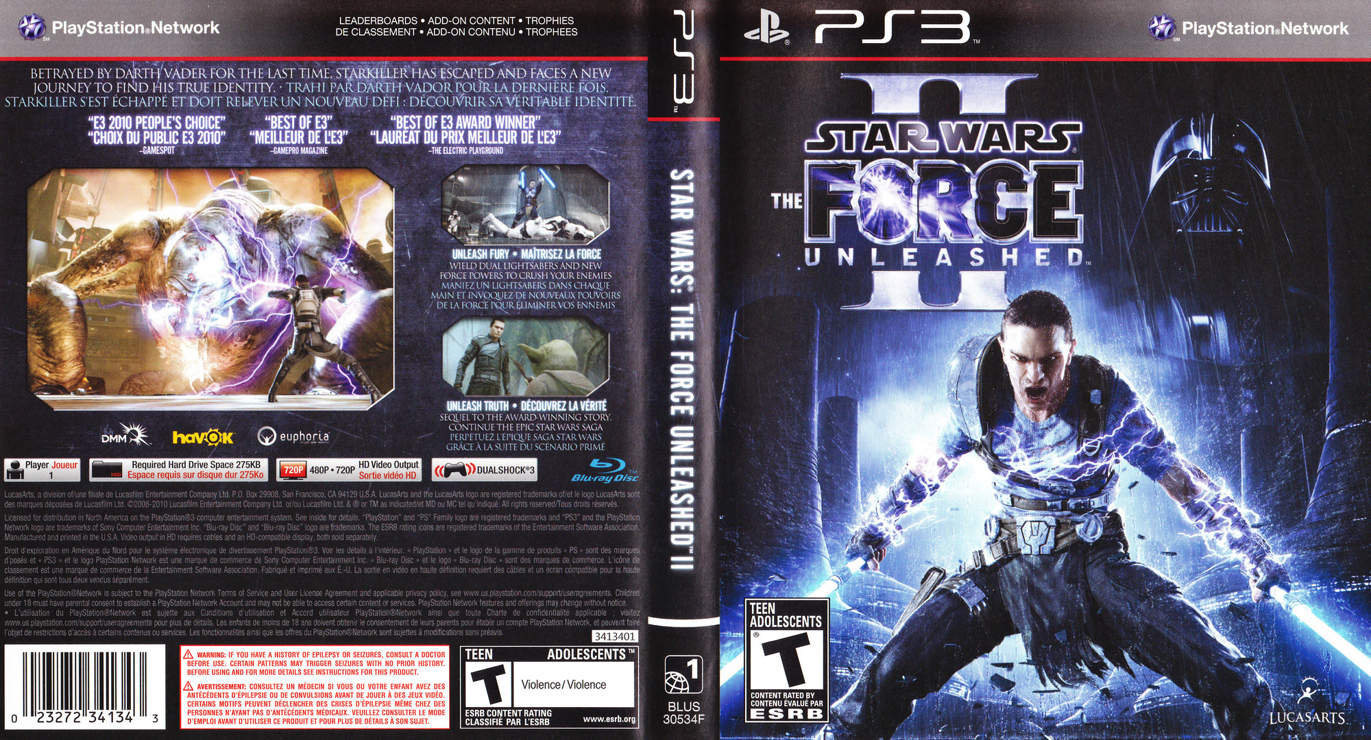 Star Wars: The Force Unleashed II PS3 coverfullHQ (BLUS30534)