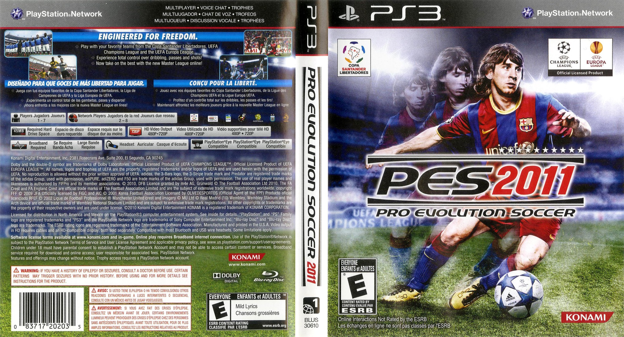 Pro Evolution Soccer 2011 PS3 coverfullHQ (BLUS30610)