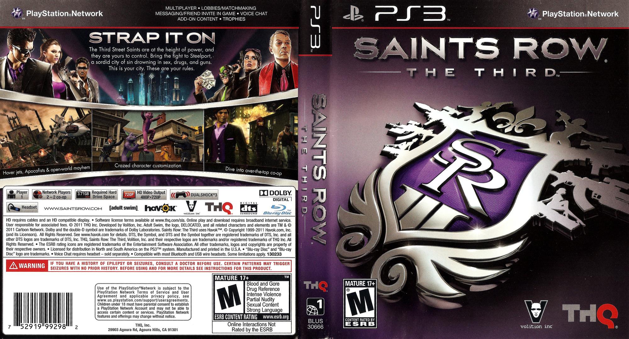 Saints Row: The Third PS3 coverfullHQ (BLUS30666)