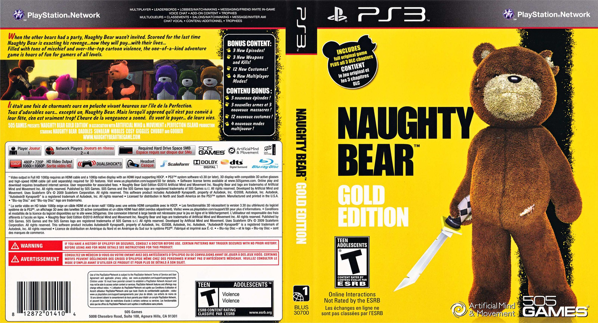 Naughty Bear Gold Edition PS3 coverfullHQ (BLUS30700)