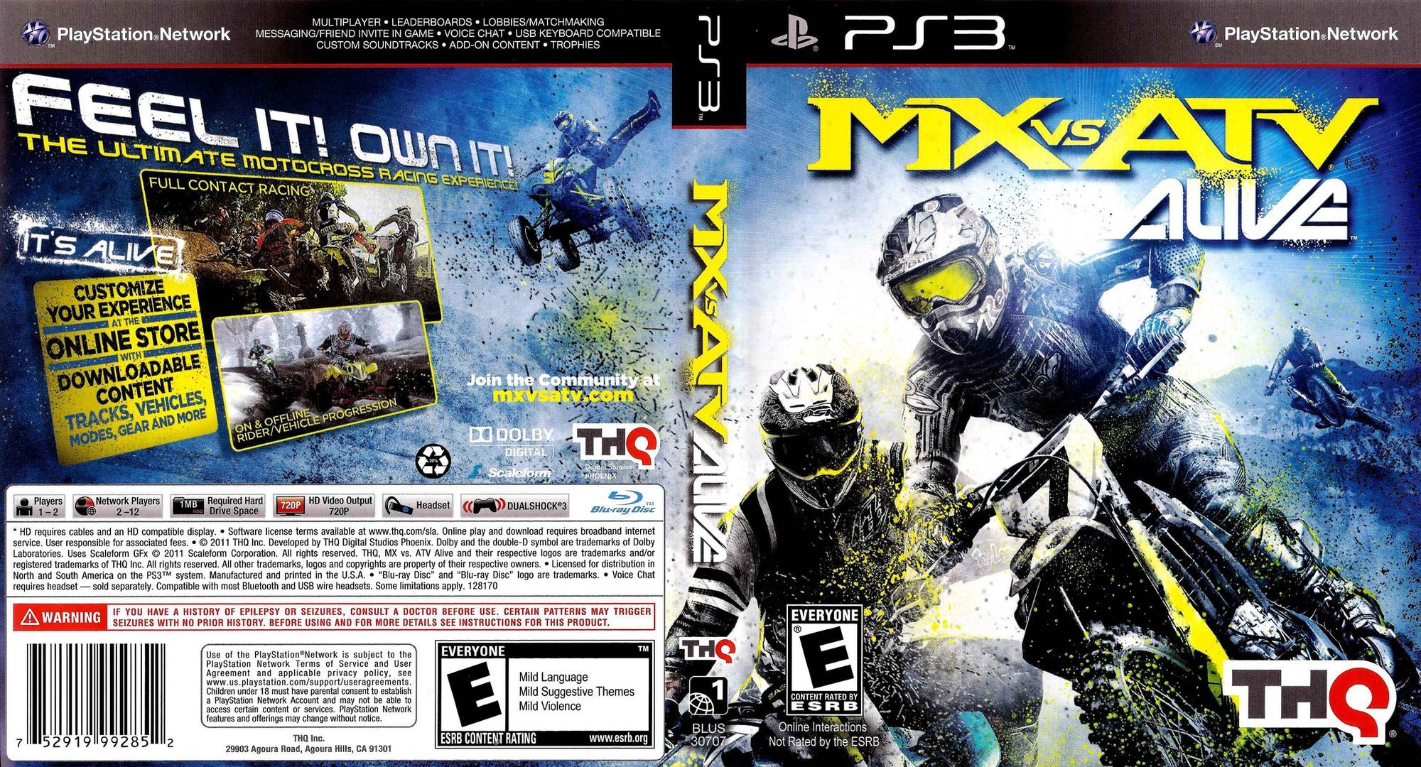 MX vs. ATV Alive PS3 coverfullHQ (BLUS30707)