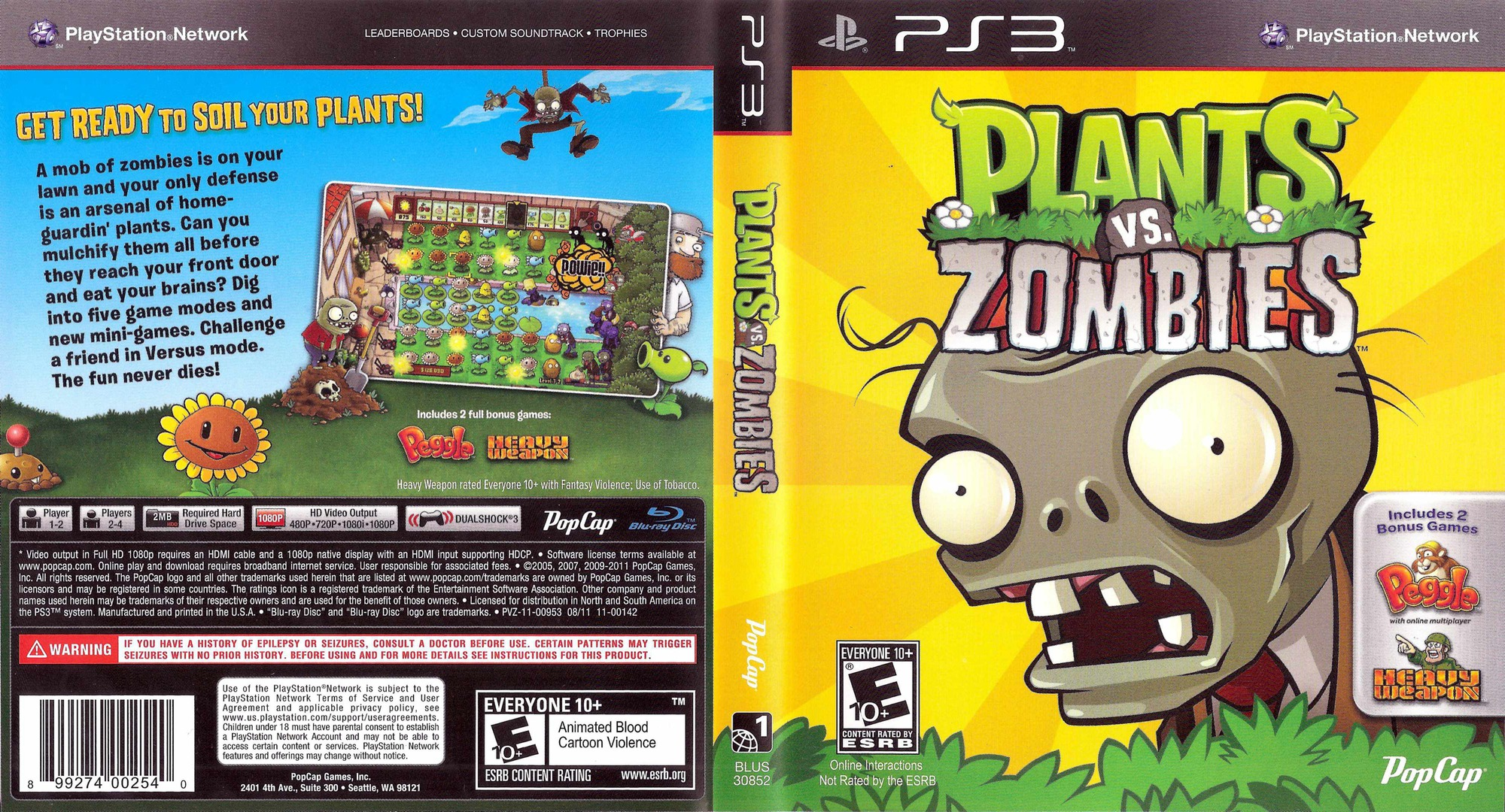Plants vs. Zombies PS3 coverfullHQ (BLUS30852)
