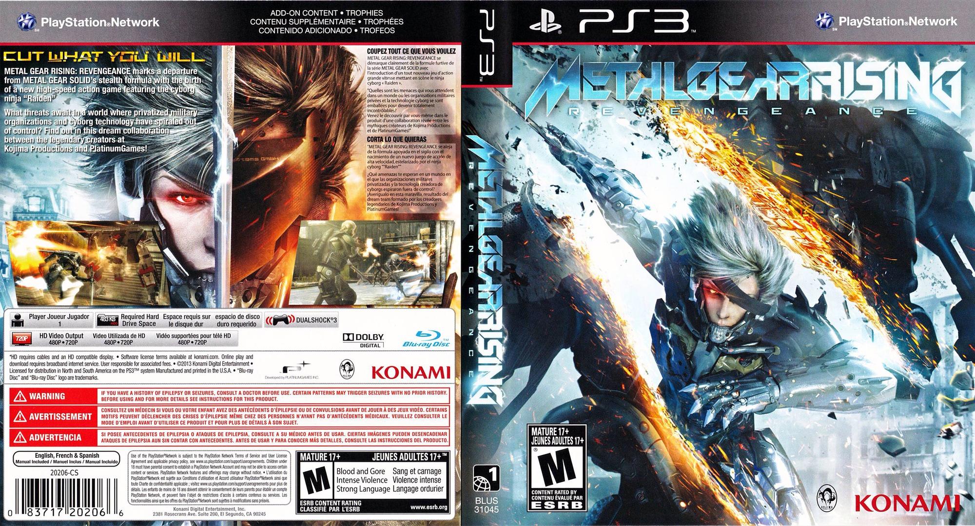 Metal Gear Rising: Revengence PS3 coverfullHQ (BLUS31045)