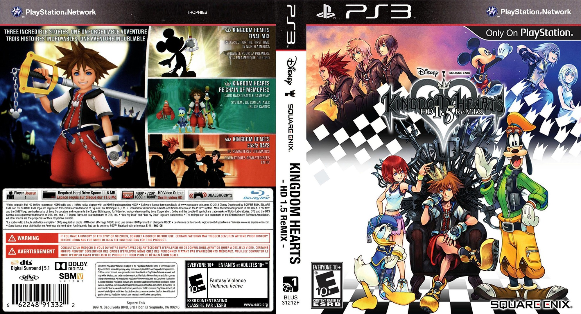 Kingdom Hearts HD 1.5 ReMIX PS3 coverfullHQ (BLUS31212)