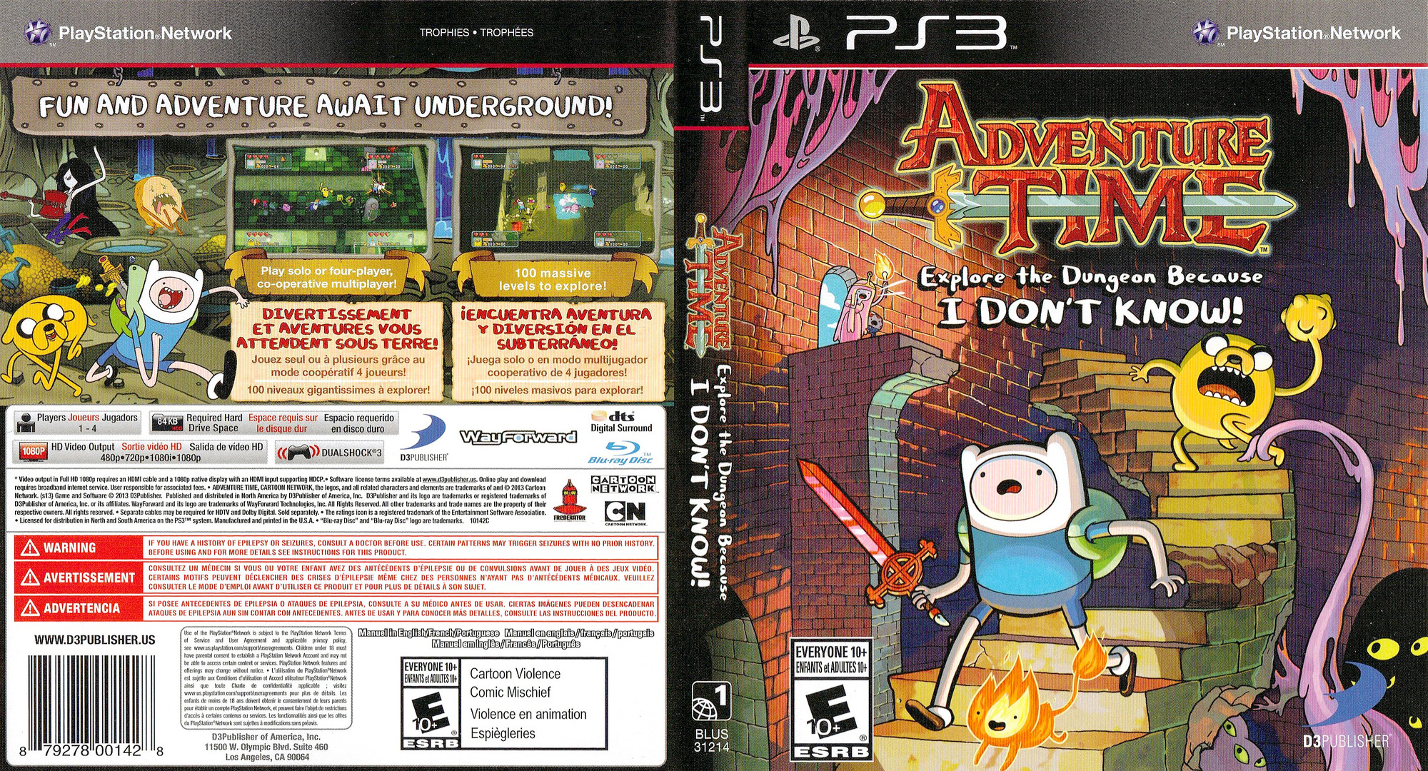Adventure Time: Explore the Dungeon Because I DON'T KNOW! PS3 coverfullHQ (BLUS31214)