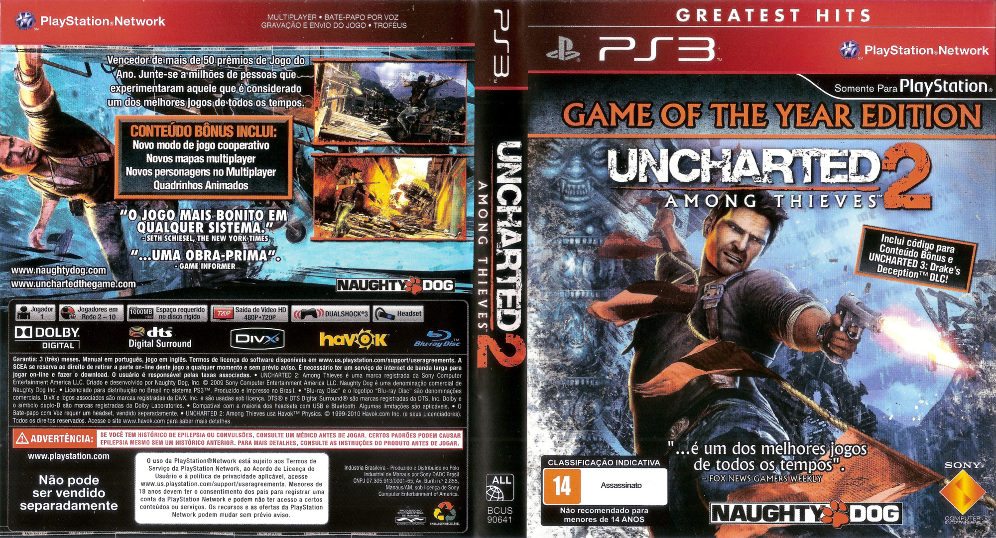 Uncharted 2: Among Thieves (Game of the Year Edition) (Greatest Hits) PS3 coverfullHQ (BCUS90641)