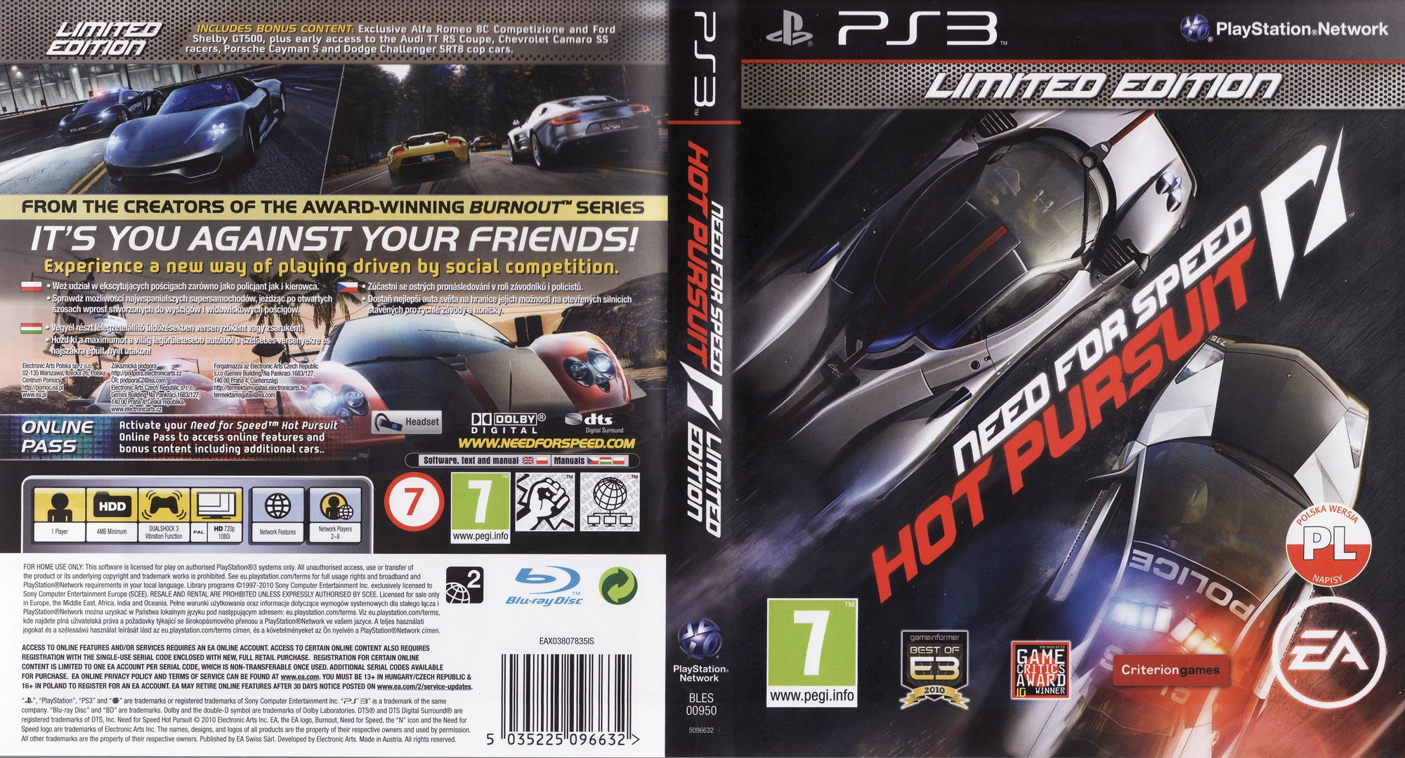Need for Speed: Hot Pursuit (Limited Edition) PS3 coverfullHQ (BLES00950)