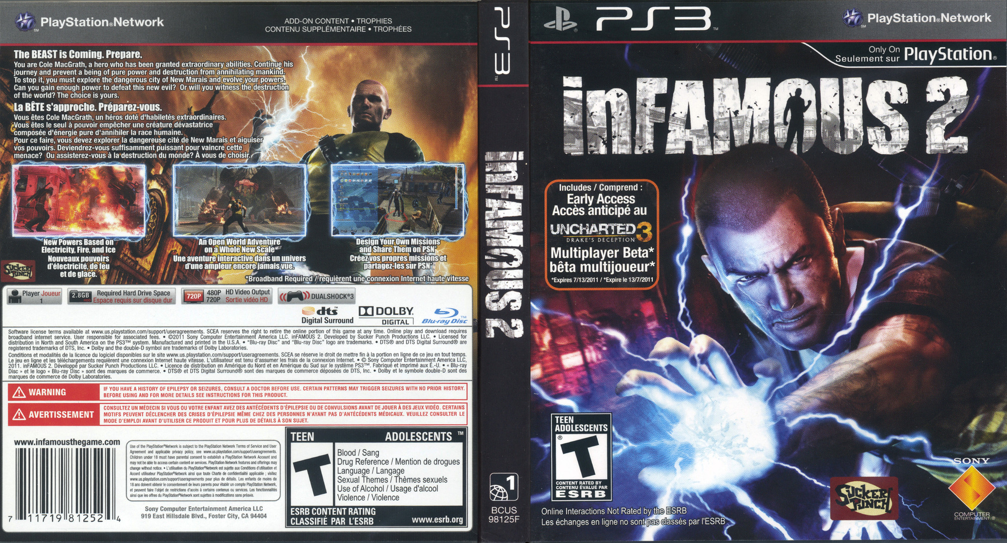 inFamous 2 PS3 coverfullHQ2 (BCUS98125)