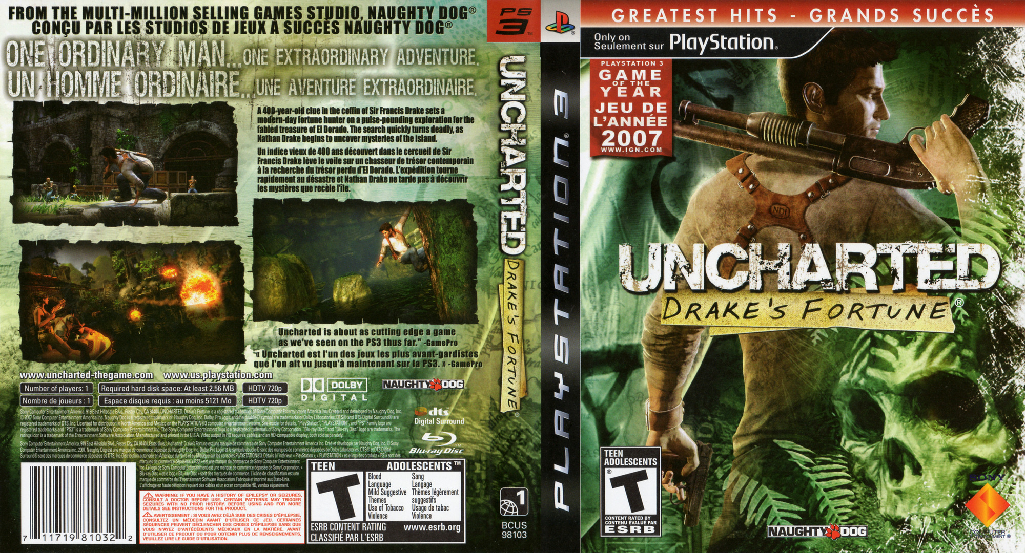 Uncharted: Drake's Fortune PS3 coverfullHQB2 (BCUS98103)