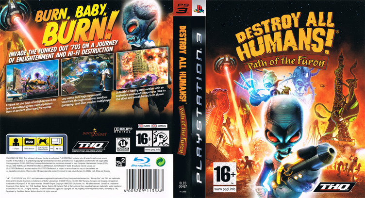 Destroy All Humans! Path of the Furon PS3 coverfullM (BLES00467)