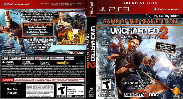 Uncharted 2: Among Thieves (Game of the Year Edition) (Greatest Hits) PS3 coverfullM (BCUS90641)