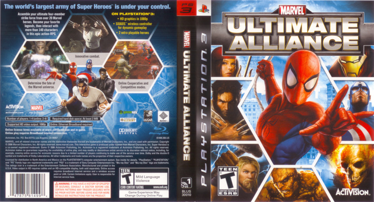 Marvel: Ultimate Alliance PS3 coverfullM (BLUS30010)