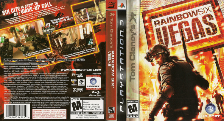 Tom Clancy's Rainbow Six: Vegas PS3 coverfullM (BLUS30018)