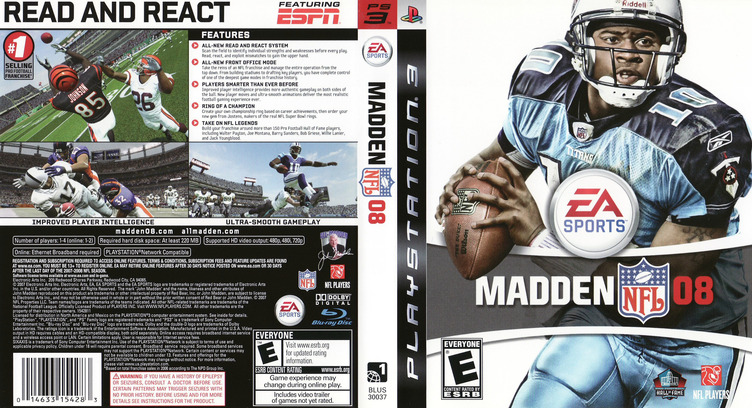 Madden NFL 08 PS3 coverfullM (BLUS30037)