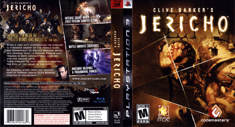 Clive Barker's Jericho PS3 coverfullM (BLUS30063)