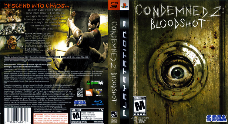 Condemned 2: Bloodshot PS3 coverfullM (BLUS30115)