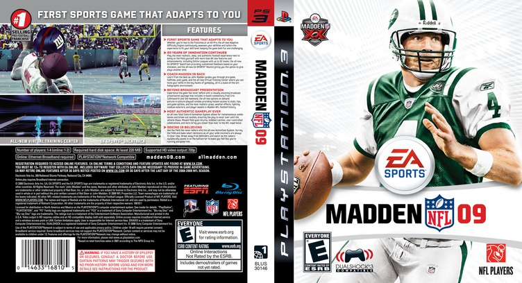 Madden NFL '09 PS3 coverfullM (BLUS30146)